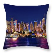 New York City Nyc Midtown Manhattan At Night Throw Pillow by Jon Holiday