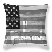 New York City On American Flag Black And White Throw Pillow