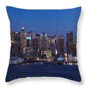 New York City Panorama At Dusk Throw Pillow