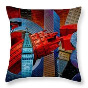 New York City Park Avenue Sculptures Reimagined Throw Pillow