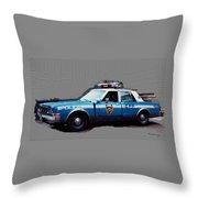 Vintage New York City Police Car 1980s Throw Pillow