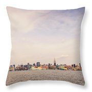 New York City Skyline And The Hudson River Throw Pillow