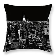 New York City Skyline At Night Throw Pillow