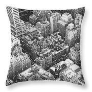 New York City - Skyline In The Snow Throw Pillow by Vivienne Gucwa
