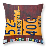 New York City Skyline License Plate Art 911 Twin Towers Statue Of Liberty Throw Pillow
