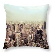 New York City - Skyline On A Hazy Evening Throw Pillow by Vivienne Gucwa