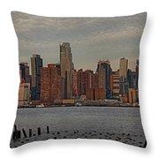 New York City Skyline Panoramic Throw Pillow