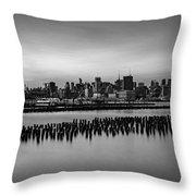 New York City Skyline Stillness Bw Throw Pillow