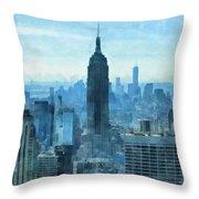 New York City Skyline Summer Day Throw Pillow