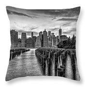 New York City Skyline Sunset Hues Bw Throw Pillow
