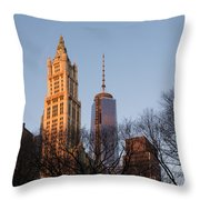 New York City Skyline Through The Trees Throw Pillow