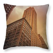 New York City - Skyscraper And Storm Clouds Throw Pillow