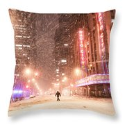 New York City - Snow And Empty Streets - Radio City Music Hall Throw Pillow
