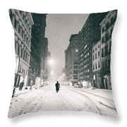 New York City - Snow - Empty Streets At Night Throw Pillow