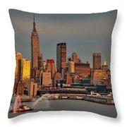 New York City Sundown On The 4th Throw Pillow by Susan Candelario