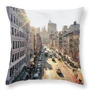 New York City - Sunset Above Chinatown Throw Pillow