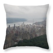 New York City Syline Draped In Clouds Throw Pillow