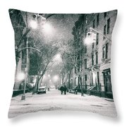 New York City - Winter Night In The West Village Throw Pillow