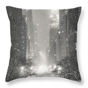 New York City - Winter Night Overlooking The Chrysler Building Throw Pillow by Vivienne Gucwa