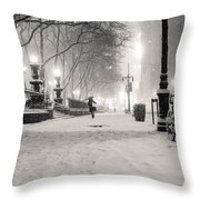 New York City Winter Night Throw Pillow by Vivienne Gucwa