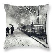 New York City - Winter - Snow At Night Throw Pillow