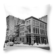 New York City Winter - Snow In Soho Throw Pillow
