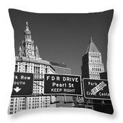 New York City With Traffic Signs Throw Pillow
