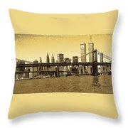 New York Downtown Manhattan Skyline - Yellow Panorama Throw Pillow