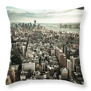 New York From Above - Vintage Throw Pillow