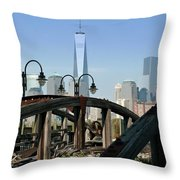 New York From New Jersey - Image 1633-01 Throw Pillow
