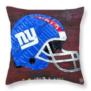 New York Giants Nfl Football Helmet License Plate Art Throw Pillow