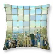 New York Golden Panorama Throw Pillow