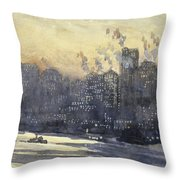 New York Harbor And Skyline At Night Circa 1921 Throw Pillow