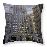 New York In Vertical Panorama Throw Pillow