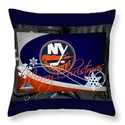 New York Islanders Christmas Throw Pillow