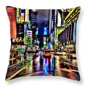 New York Lights In Rain Throw Pillow