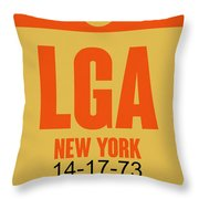 New York Luggage Poster 1 Throw Pillow by Naxart Studio