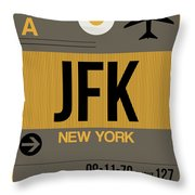 New York Luggage Tag Poster 3 Throw Pillow by Naxart Studio