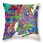 New York Map Abstract 2 Throw Pillow