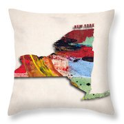 New York Map Art - Painted Map Of New York Throw Pillow
