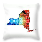 New York - Map By Sharon Cummings Throw Pillow