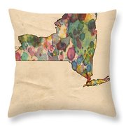 New York Map Vintage Watercolor Throw Pillow