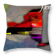 New York Map Watercolor Throw Pillow