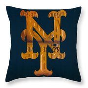New York Mets Baseball Vintage Logo License Plate Art Throw Pillow