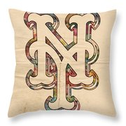 New York Mets Poster Art Throw Pillow