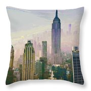 New York Misty Morning Throw Pillow