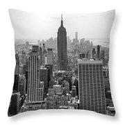 New York Moody Skyline  Throw Pillow
