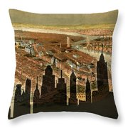 New York Old And New Throw Pillow