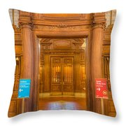 New York Public Library Main Reading Room Entrance I Throw Pillow