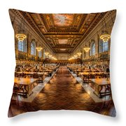 New York Public Library Main Reading Room Vii Throw Pillow